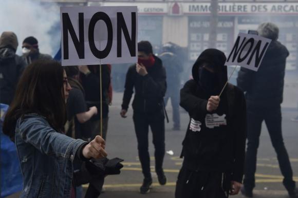 Reclamos en París. Foto: AFP.