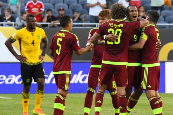 Venezuela festejando el gol ante Jamaica. Foto: Reuters