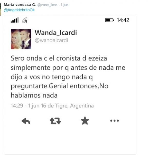 El tuit de Wanda sobre Pampito que luego borró. Foto: Twtitter @vane_jime