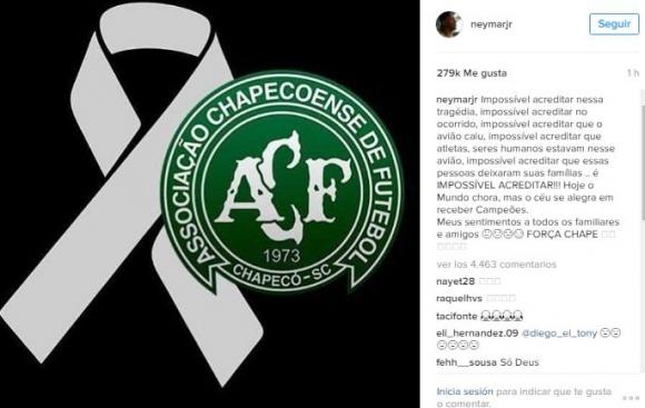 El mensaje de Neymar para los jugadores del Chapecoense. Foto: captura Instagram