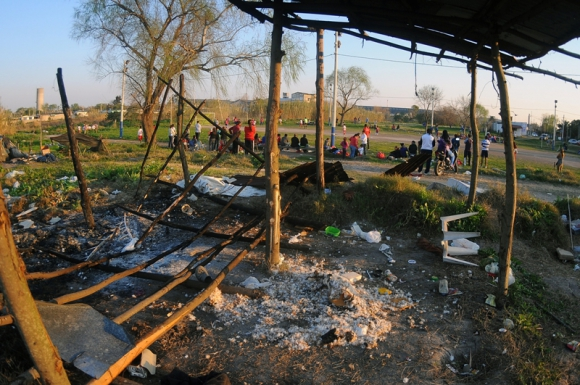 Así quedó el asentamiento Villa Esperanza después del desalojo. Foto: Fernando Ponzetto