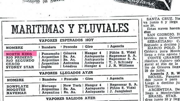 El País: aviso de 1949 sobre arribo del North King a Montevideo. Foto: archivo El País