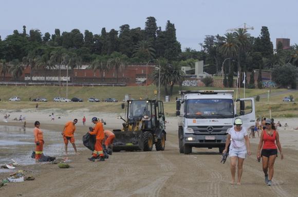 Cuadrillas municipales limpiaron las playas. Foto: A. Colmegna