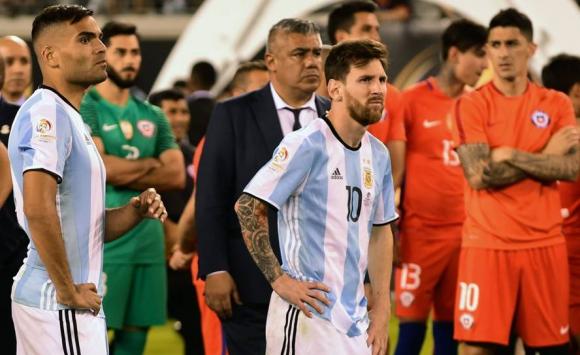Lionel Messi tras la final entre Chile y Argentina. Foto: AFP