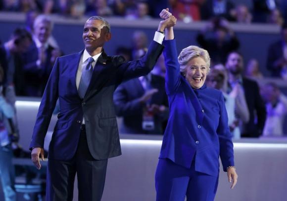 Barack Obama y Hillary Clinton en la Convención Demócrata. Foto: Reuters