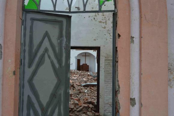 La Iglesia Valdense en ruinas por el tornado. Foto: Daniel Rojas