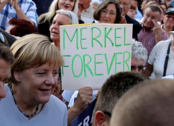 Merkel en un acto en Berlín por las elecciones regionales del domingo. Foto: Reuters
