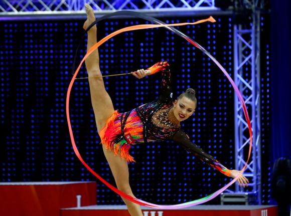Melitina Staniouta actúa en el mundial del banco BSB en 2016. Foto Reuters