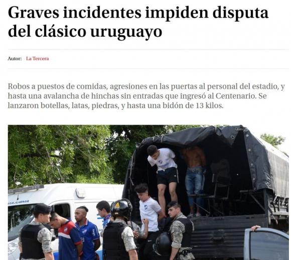Portada de La Tercera de Chile.