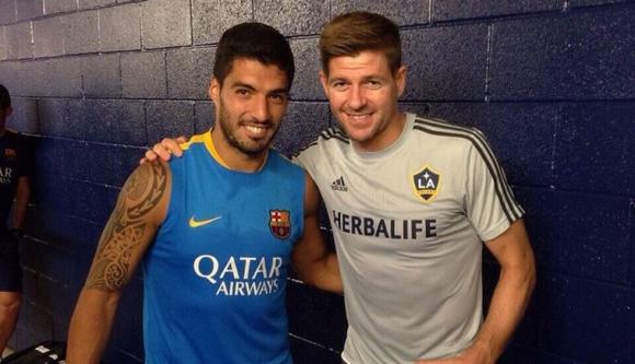 Luis Suárez y Steven Gerrard en Estados Unidos, donde jugarán amistoso entre Barcelona y LA Galaxy. Foto: Instagram Gerrard