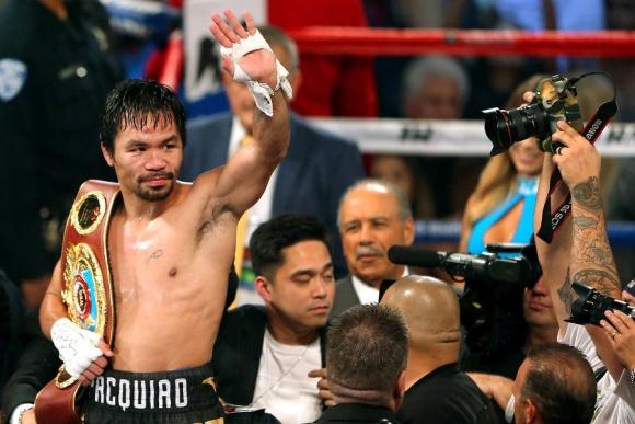 Manny Pacquiao celebra el triunfo sobre el cuadrilátero. Foto: Reuters