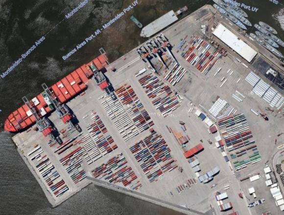 Puerto de Montevideo. Foto: Google Earth