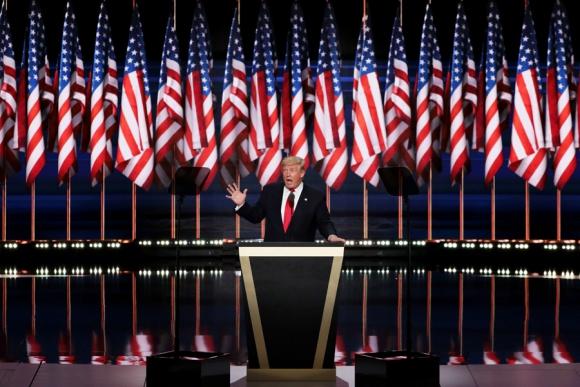 Donald Trump aceptando su candidatura. Foto: AFP