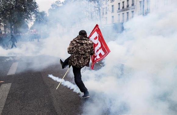 Manifestación contra la reforma laboral en Francia. Foto: EFE