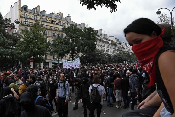 Manifestación contra la reforma laboral en Francia. Foto: AFP