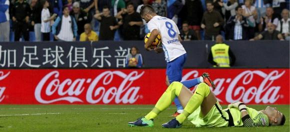 Michael Santos tras su gol en el Málaga. Foto: EFE