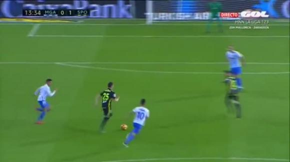 Gol de Santos: Málaga 3-2 Sporting - Liga de España
