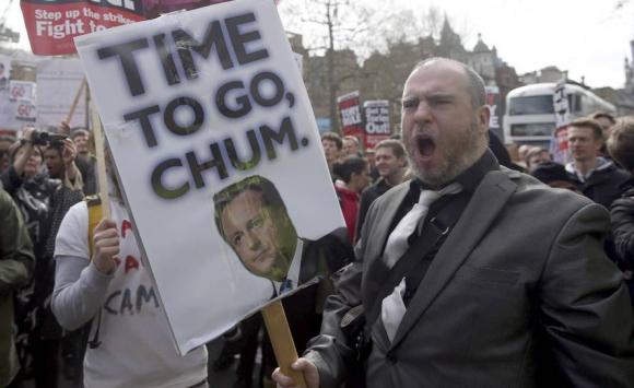 Protestas contra David Cameron en Londres. Foto: Reuters.