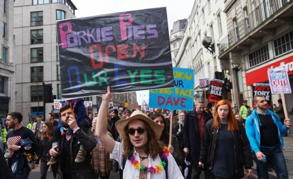 Protestas contra David Cameron en Londres. Foto: AFP.