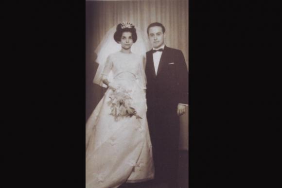 Giza, el día de su casamiento con Chito Goldfarb.