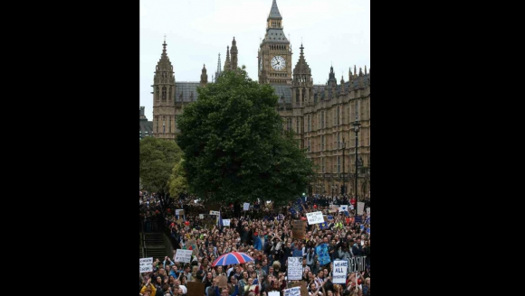 Protestas en Londres contra el Brexit. Foto: AFP