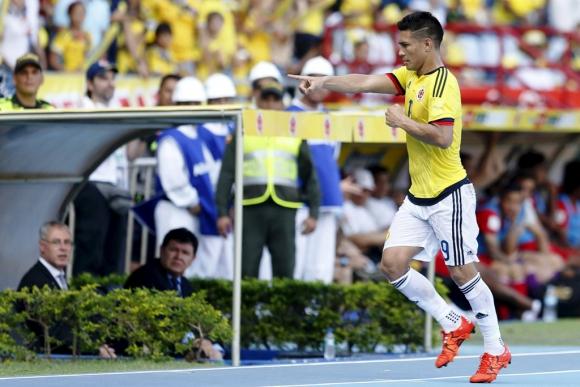 Teófilo Gutiérrez abrió el marcador de Colombia-Perú. Foto: Reuters.