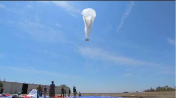 Primer globo que emite internet desde la estratosfera. Foto: Captura