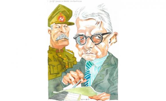 Dmitri Shostakóvich y Josef Stalin. Dibujo de Ombú
