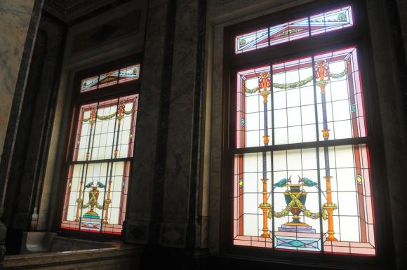 Vitrales en el Salón de los Pasos Perdidos en el Palacio Legislativo. Foto: Ariel Colmegna
