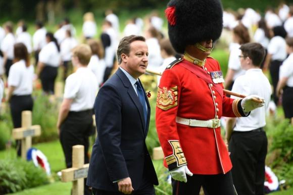 David Cameron en la evocación de la batalla de Somme. Foto: AFP