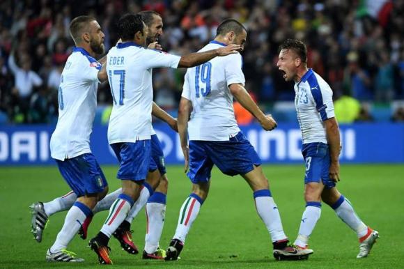 El festejo de la victoria italiana ante Bélgica. Foto: AFP