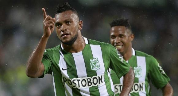 Miguel Borja festeja su gol. Foto: AFP