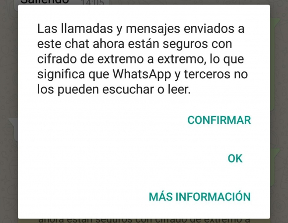 Mensaje que reciben los usuarios de WhatsApp