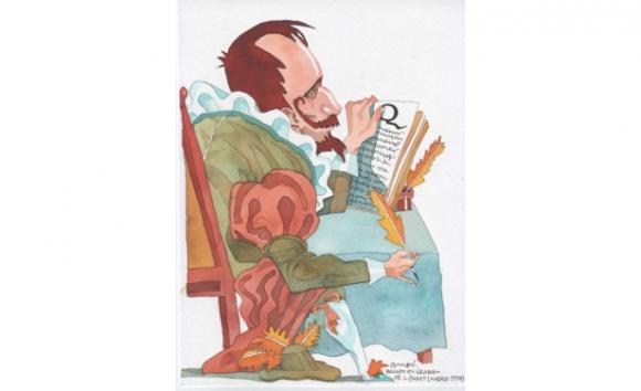 Miguel de Cervantes Saavedra. Dibujo de Ombú