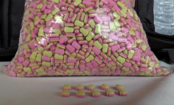 Española transportaba 15.372 pastillas de éxtasis. Foto: Ministerio del Interior