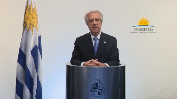 Tabaré Vázquez en cadena de radio y televisión. Foto: Captura de pantalla