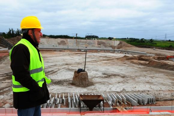 Damiani en el futuro estadio. Foto: M. Bonjour