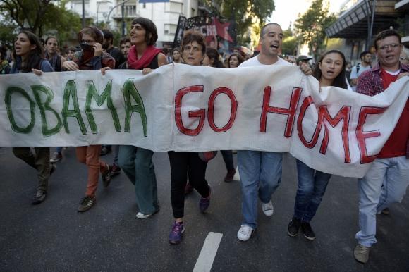 Protestas contra visita de Obama a Argentina. Foto: Reuters