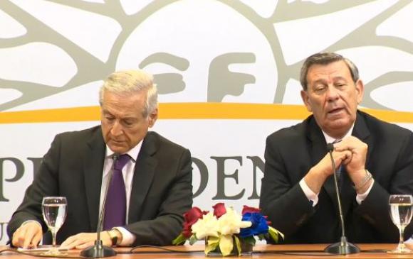 Muñoz y Nin Novoa en conferencia de prensa. Foto: captura Presidencia