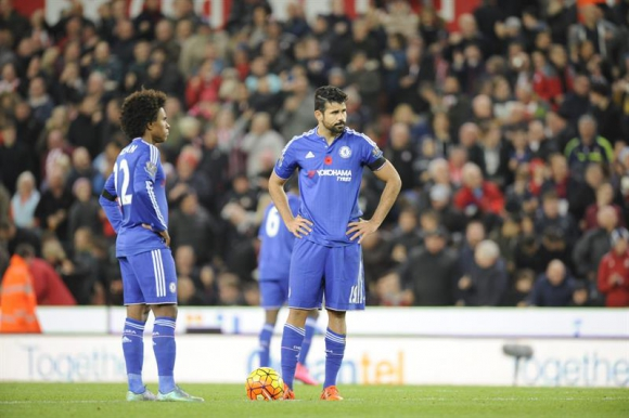 Willian y Diego Costa en la derrota de Chelsea. Foto: EFE