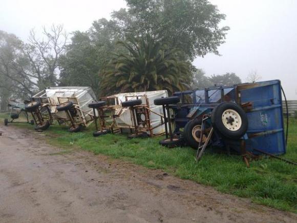 Turbonada en Durazno destrozó una cabaña. Foto: Alternativa Durazno