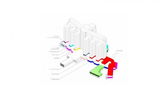 El plano muestra áreas del subsuelo, el basamento, la planta baja y los pisos 1 y 2.