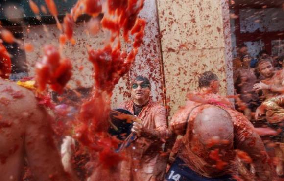 Tomatina en Buñol. Foto: EFE