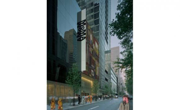 Museo de Arte Moderno de Nueva York, entrada por la calle 53 (Fotomontaje del Arq. Andrés Olivera sobre foto de Timothy Hursley).