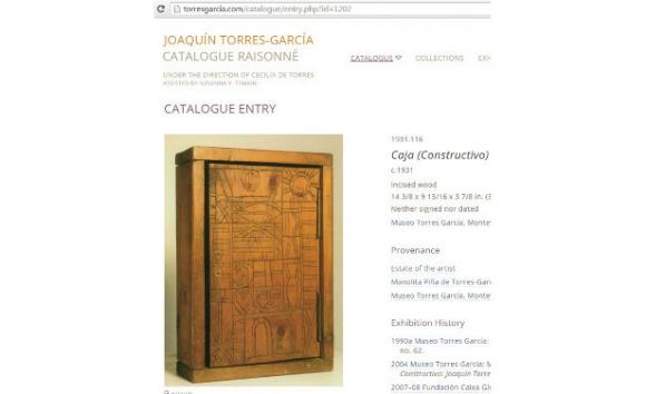 Detalle de una ficha del catálogo razonado online de Torres-García.