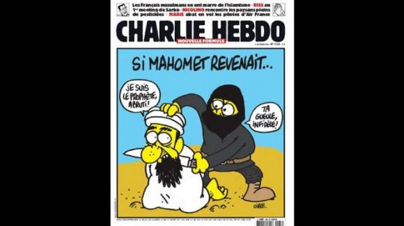 En esta caricatura Mahoma es decapitado por un terrorista que lo acusa de infiel. Foto: Charlie Hebdo