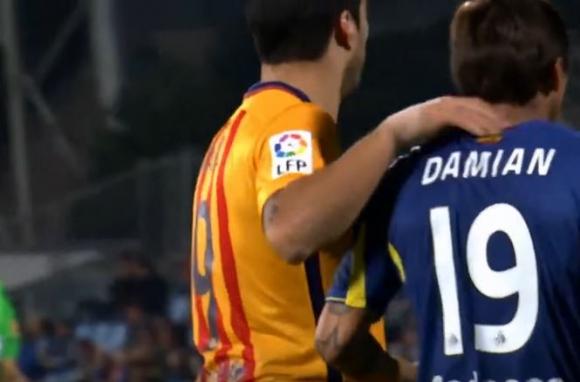 Luis y Damián Suárez durante el partido. Foto: Captura de video