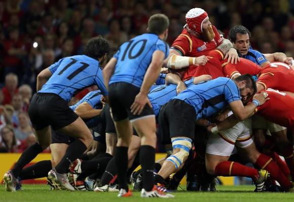 Los Teros cayeron ante Gales en el debut en el Mundial de Rugby. Foto: EFE
