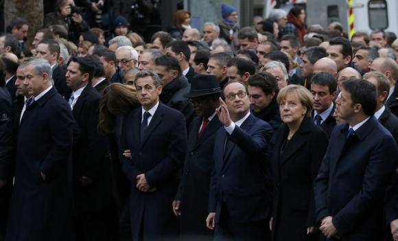Mandatarios europeos lideraron la marcha por la paz. Foto: Reuters