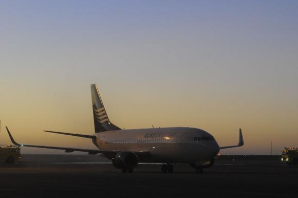 Aterrizó el primer avión de Alas Uruguay. Foto: Leonardo Carreño